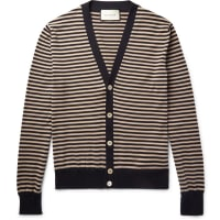 GucciStriped Cotton And Cashmere-blend Cardigan - Midnight blue