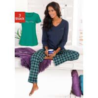 H.I.SKariertes Pyjamaset (3 tlg.) mit Hose, T-Shirt & Langarmshirt, blau, marine-grün kariert