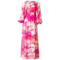 Hanae MoriPrinted Chiffon Maxi Dress With Smocking
