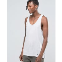 Hand of GodHand Of God Oil Washed Singlet With Asymetric Hem - Grey
