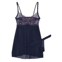 Hanky PankyDahlia Embroidered Lace-trimmed Mesh Chemise And Thong Set - Midnight blue