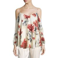 Haute HippieLong-Sleeve Floral Cold-Shoulder Blouse, Lincoln Print