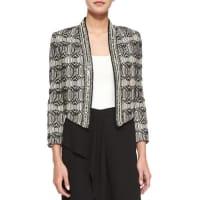 Haute HippieTribal-Print Chevron-Embellished Jacket, Swan/Black