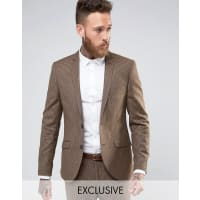 Heart & DaggerHeart and Dagger Woven in England Skinny Suit Jacket in Dogstooth - Brown