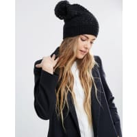 Helene BermanSequin Slouchy Beanie Hat With Pom - Sequin black/silver
