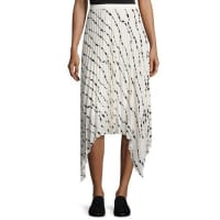 Helmut LangPleated Printed Silk Midi Skirt, White