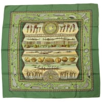 HermèsHermes Green Vie Du Fleuve 36 Silk Scarf