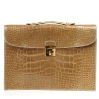 HermèsHermes Quirus Briefcase / Portfolio / Attache Ficelle Alligator Gold Hardware