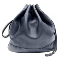 HermèsIndigo Leather Drawstring Market Bucket Bag