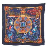 HermèsRare Vintage Hermes Scarf Joies Dhiver Navy Border Cashmere/silk