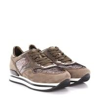 HoganSneakers H222 Plateau Veloursleder taupe Leder bronze metallic Pailletten