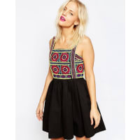 House Of HollandEmbroidered Strap Dress - Black