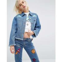 House Of Hollandx Lee - Giacca di jeans con ricamo spaziale - Blu