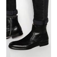 HudsonPlant Leather Zip Boots - Black