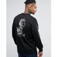 HUFx Peanuts Long Sleeve T-Shirt With Pigpen Back Print - Black