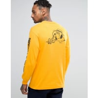 HUFx Peanuts Long Sleeve T-Shirt With Spike Back Print - Yellow