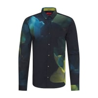 HUGO BOSSExtra-slim fit cotton shirt in an abstract pattern: Ero3