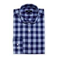 HUGO BOSSBuffalo-Check Slim-Fit Dress Shirt, Navy