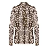 HUGO BOSSGemusterte Bluse aus Seide mit Schluppenkragen: Baling1