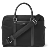HUGO BOSSLeather-trimmed Canvas Briefcase - Black