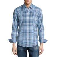 HUGO BOSSPlaid Long-Sleeve Sport Shirt, Turquoise