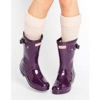 HunterOriginal Short Gloss Wellington Boot - Purple