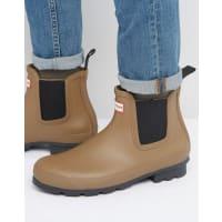HunterOriginal Dark Sole Chelsea Boots - Tan