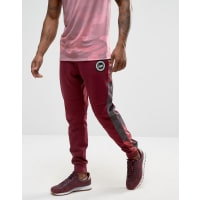 HypeCuffed Joggers With Rose Panels - Burgundy