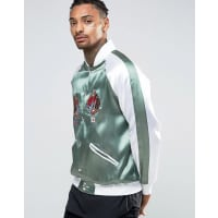 HypeEmbroidered Souvenir Bomber Jacket With Koi Back Print - Green