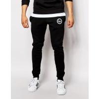 HypeSkinny Joggers With Crest Logo - Black