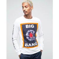 HypeT-shirt à motif fleuri et manches longues imprimées - Blanc