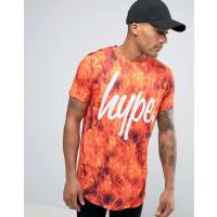 HypeLogo T-Shirt In Fire Print - Orange