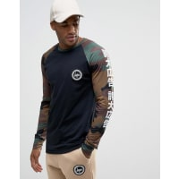 HypeLong Sleeve T-Shirt With Camo Sleeves And Japanese Text - Black