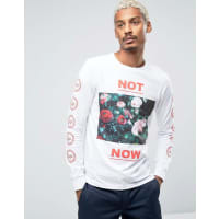 HypeLong Sleeve Tee With Floral Statement And Sleeve Print - White