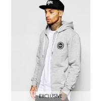 HypeZip Up Hoodie With Crest Logo - Grey