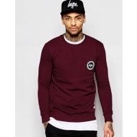 HypeSweatshirt With Crest Logo - Burgundy