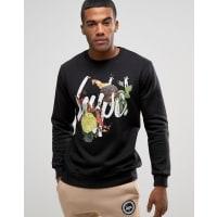 HypeSweatshirt With Fire Floral Logo - Black