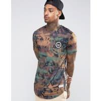 HypeT-shirt imprimé camouflage brossé avec logo sur la poitrine - Vert
