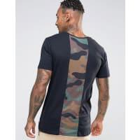HypeT-Shirt With Camo Print Back Panel - Black