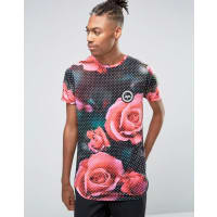 HypeT-Shirt With Floral Print Polka Dots - Black