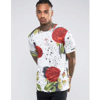 HypeT-Shirt With Speckle Rose Print - White