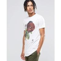 HypeT-shirt à imprimé roses moucheté - Blanc