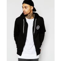 HypeZip Up Hoodie With Crest Logo - Black