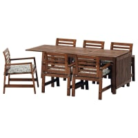IKEAÄPPLARÖ, Tisch+6 Armlehnstühle/außen, braun las., beige