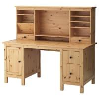 IKEAHEMNES, Schreibtisch mit Aufsatz, hellbraun