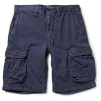 IncotexCotton And Linen-blend Cargo Shorts - Navy