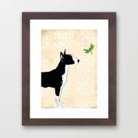 Indira AlbertEnglish Bull Terrier Dog In Black Fine Art Print