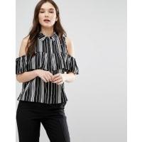 InfluenceCold Shoulder Striped Top - Black