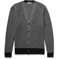 Inis MeáinBreidin Contrast-trimmed Merino Wool Cardigan - gray