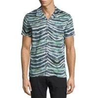 IroEluard Zebra-Print Short-Sleeve Shirt, Khaki White
